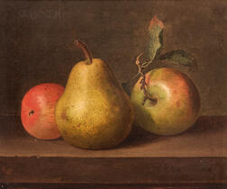 Paul LaCroix (American, 1827-1869)      Still Life with Apples and Pear