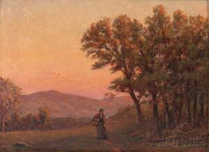 Horace Burdick (American, 1844-1942)    Traveler on a Road at Dusk