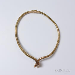 9kt Gold Snake Necklace