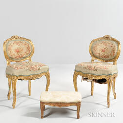 Pair of Louis XV-style Giltwood Chairs and a Tabouret