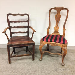 Pair of Mahogany Plank-seat Carved Crest Side Chairs