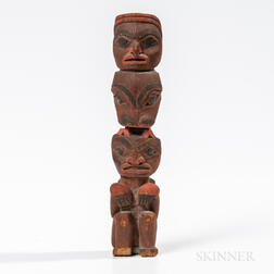 Northwest Coast Carved Wooden Model Totem Pole