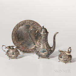 Three-piece A.G. Schultz Sterling Silver Coffee Service with Associated Kirk Dish
