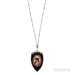 Art Deco Onyx and Reverse-painted Crystal Pendant and Chain