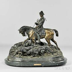 After Pierre-Jules Mene (French, 1810-1879)      Bronze Figural Group of a Horseman with Hounds