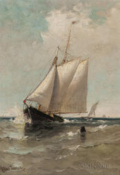 Marshall Johnson Jr. (American, 1850-1921)      Schooner Leaving a Harbor