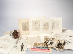 Caruso, Enrico (1873-1921) Large Archive of Material Including Twenty-five Original Drawings.