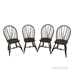 Set of Four Bench-made Black-painted Braced Bow-back Windsor Side Chairs