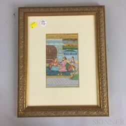 Miniature Painting Depicting a Couple Drinking