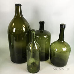 Four Olive Blown Glass Bottles