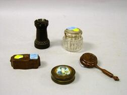 Portrait-Lidded Horn Snuff Box, an Inlaid Rosewood Box, a Sterling Lidded Cut Glass Jar, a Rosewood Sander, and a Miniature Hardwood To