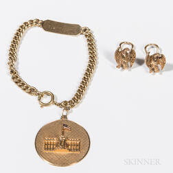Dwight D. Eisenhower Cartier 14kt Gold Presidential Charm and Eagle Earrings