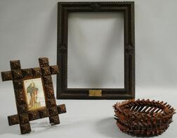 """Tramp Art Wood """"Crown of Thorns"""" Basket and Two Notch-carved Wood Frames"""