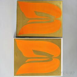 Jack Youngerman (American, b. 1926)      Two Gold and Orange Prints
