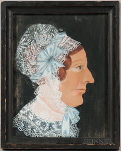 American School, Early 19th Century      Portrait of a Woman in a Lace Bonnet with Powder Blue Ribbons