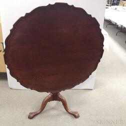 Queen Anne-style Carved Mahogany Birdcage Tilt-top Tea Table
