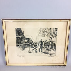 Framed Lionel Barrymore (California, 1878-1954) Etching of a Dockyard