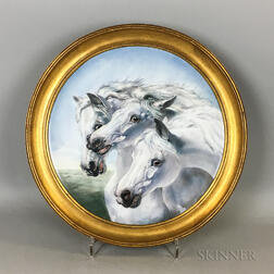 "French Painted Porcelain Plaque after ""Pharaoh's Horses,"""