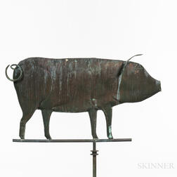 Large Molded Sheet Copper Pig Weathervane