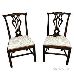 Pair of Chippendale-style Carved Hardwood Side Chairs