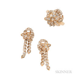 18kt Gold and Diamond Earrings and Ring