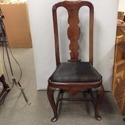 Queen Anne-style Carved Walnut Slipper-foot Side Chair