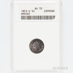 1853-O Arrows Seated Liberty Half Dime, ANACS AU55.     Estimate $100-150