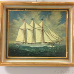 American School, 20th Century    Portrait of a Three-masted Schooner