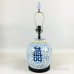 "Blue and White ""Double Happiness"" Jar Lamp"
