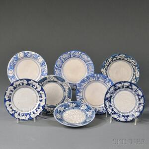 Eight Dedham Pottery Bread and Butter Plates