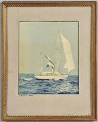 Framed Color Photograph of the Yawl Warlock