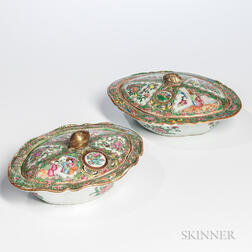 Two Rose Medallion Export Porcelain Covered Dishes