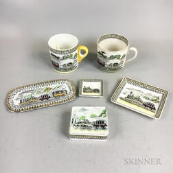 Six English Railway Transfer-decorated Ceramic Items