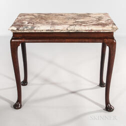 George III Mahogany and Mahogany-veneered Marble-top Side Table