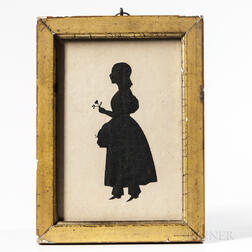 Hollow-cut Silhouette of a Girl Holding a Flower