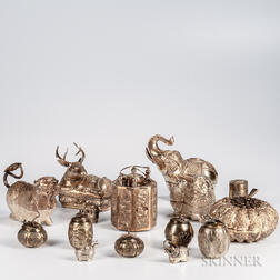 Fifteen Assorted Cambodian Silver Repousse Items