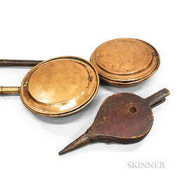 Two Engraved Copper Bedwarmers and a Pine Bellows.     Estimate $150-250