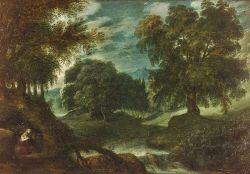 School of Paul Bril (Flemish, 1554-1626)  Mary Magdalene in the Wilderness