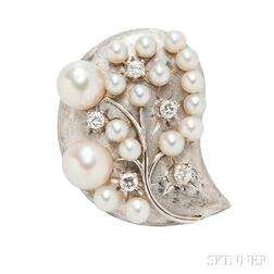 14kt White Gold, Cultured Pearl, and Diamond Brooch