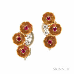 14kt Gold, Ruby, and Diamond Flower Earclips