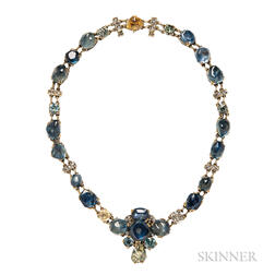 Unusual Gold Gem-set Necklace
