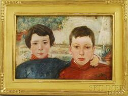 Frederick Trapp Friis (American, 1865-1909)      Bjorn and Jan, (The Artist's Sons)