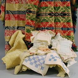 Assorted Group of Doll Bedding, Blankets and Two Coverlets