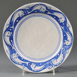 Dedham Pottery Dolphin Plate