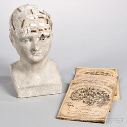 Plaster Phrenology Head by L.N. Fowler and Three Phrenological Journals