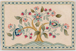 Hooked Rug with a Flowering Tree
