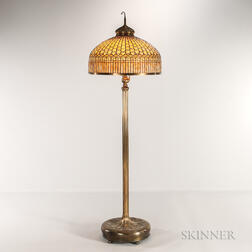 Tiffany Studios Bronze and Leaded Glass Curtain Border Floor Lamp