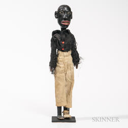 Carved and Painted Articulated Black Figure with Original Clothing