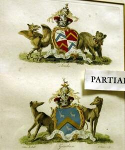 Set of Three Framed British Heraldic Prints and a Framed Portrait Print of a Young Woman.