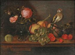 Alexander Adriaenssen (Flemish, 1587-1661)      Still Life with Flowers, Fruit, and Bird